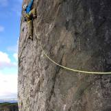 Just factor 2, 2nd pitch of Wall of Spirits(E8 6b), Pentire Point(The Great Wall) - U.K.